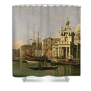A View Of The Dogana And Santa Maria Della Salute Shower Curtain by Antonio Canaletto