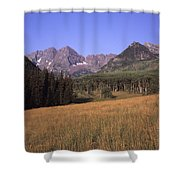 A View Of The Maroon Bells Mountains Shower Curtain