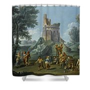 A View Of The Sedia Del Diavolo With Peasants  Shower Curtain