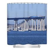 A View Of The South End Of The San Diego-coronado Bridge Shower Curtain