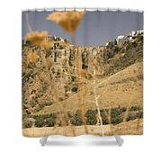 A View Of The Tajo De Ronda And Puente Nuevo Bridge Serrania De Ronda Andalucia Spain Shower Curtain