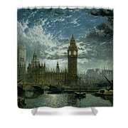 A View Of Westminster Abbey And The Houses Of Parliament Shower Curtain by John MacVicar Anderson
