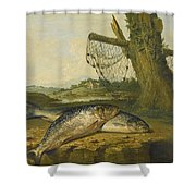 A View On The River Derwent At Belper Derbyshire With A Salmon And A Grayling On The Bank Shower Curtain