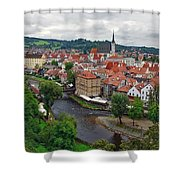 A View Overlooking The Vltava River And Cesky Krumlov In The Czech Republic Shower Curtain
