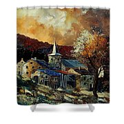 A Village In Autumn Shower Curtain