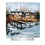 A Village In Winter Shower Curtain