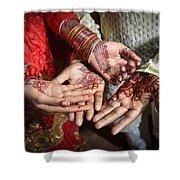 A Village Wedding Shower Curtain