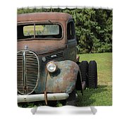 A Vintage Truck On A Yard Shower Curtain
