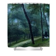 A Walk In The Woods Madame Lecoeur And Her Children 1870 Shower Curtain