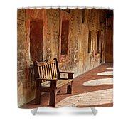 A Warm Welcome, Mission San Juan Capistrano, California Shower Curtain