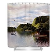 A Whales Tail By John Junek Shower Curtain