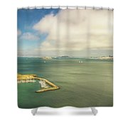 A Wide View Of San Francisco Bay Looking Toward The City And Alc Shower Curtain