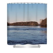 A Windswept River In March Shower Curtain