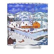 A Winter Evening Shower Curtain