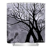 A Winter Night Silhouette Shower Curtain