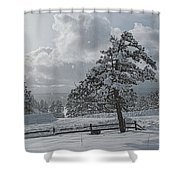 A Winter Storm In Pagosa Shower Curtain by Jason Coward