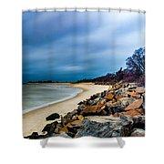 A Winter's Beach Shower Curtain