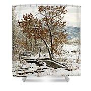 A Winter's Boardwalk Shower Curtain