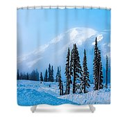 A Wintry Day On Mt Rainier Shower Curtain