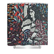A Woman Between Prints Shower Curtain