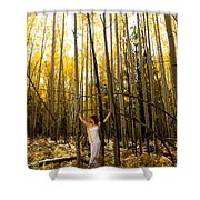 A Woman In The Aspen Shower Curtain