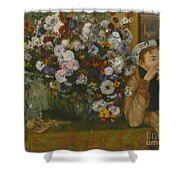 A Woman Seated Beside A Vase Of Flowers Shower Curtain