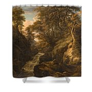 A Wooded Landscape With A Waterfall And A Fisherman Walking Along A Path Shower Curtain