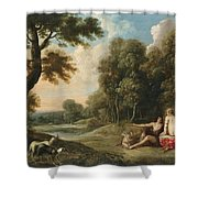 A Wooded Landscape With Venus Adonis And Cupid Shower Curtain