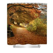 A Wooded Path In Autumn Shower Curtain
