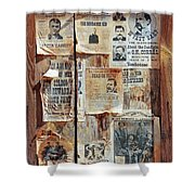 A Wooden Frame Full Of Wanted Posters Shower Curtain