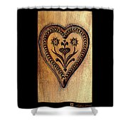 A Wooden Heart Shower Curtain