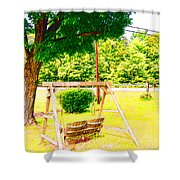 A Wooden Swing Under The Tree Shower Curtain