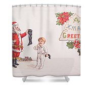 A Xmas Greetings With Santa And Child Vintage Card Shower Curtain