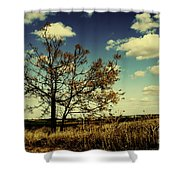 A Yellow Tree In A Middle Of A Dry Field - Wide Angle Shower Curtain