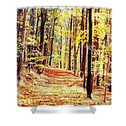 A Yellow Wood Shower Curtain