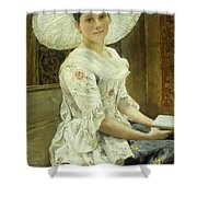 A Young Beauty In A White Hat  Shower Curtain