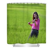 A Young Girl In A Folk Costume Plays A Vivaro In A Green Rice Fi Shower Curtain
