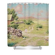 A Young Girl In Summer Landscape Shower Curtain
