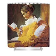 A Young Girl Reading Shower Curtain