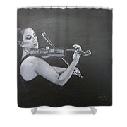 A Young Lady Playing A Violin Shower Curtain