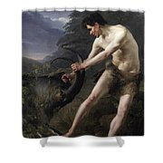 A Young Man Fighting A Goat Shower Curtain