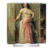 A Young Oriental Girl With A Perfume Burner Shower Curtain