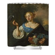 A Young Woman With A Parrot, Ary De Vois, 1660 - 1680 Shower Curtain