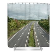 A27 Dual Carriageway Totally Clear Of Traffic. Shower Curtain
