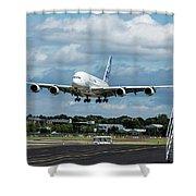 A380 Airbus Plane Landing Shower Curtain