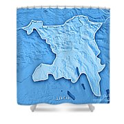 Aargau Canton Switzerland 3d Render Topographic Map Blue Border Shower Curtain