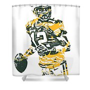 Aaron Rodgers Green Bay Packers Pixel Art 15 Shower Curtain