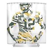 Aaron Rodgers Green Bay Packers Pixel Art 20 Shower Curtain