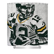 Aaron Rodgers Green Bay Packers Pixel Art 4 Shower Curtain