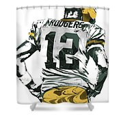 Aaron Rodgers Green Bay Packers Pixel Art 6 Shower Curtain